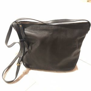 American Leather co black pebbled leather purse